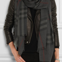 Burberry London - London checked wool and silk-blend scarf