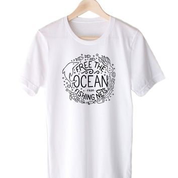 Free The Ocean From Fishing Nets. Sea Creatures Design - Eco Tee