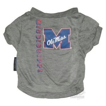 Ole Miss Rebels Heather Grey Pet T-Shirt