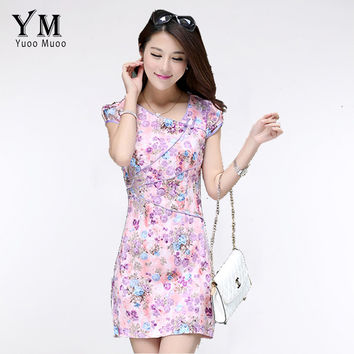 YuooMuoo 2 Colors Women Celebrity Party Dress Butterfly Embroidery Dress Vintage Floral Bandage Bodycon Casual Purple Dress