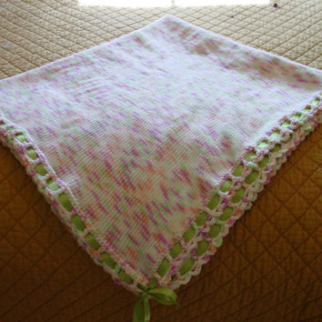 Babies first blanket, knit with crochet ladder edge, contrasting ribbon, for PETS TOO