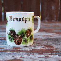 Vintage Grandpa Mug with Gold Lettering and Painted Pinecones