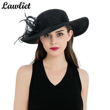 2017 Sun Hat Women Wide Brim Summer Hat Polyester Feather Ribbon Lady Fancy Fascinate Hat Kentucky Derby Church Dress Beach Hat