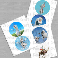 Disney Frozen - Printable Olaf and Sven Images - 5 inch circles & 6 inch circles - 6 Images with Each Set - INSTANT Download