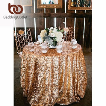 BeddingOutlet Round Sequin Tablecloth for Wedding Party Gold Silver Champagne Colorful Table Cloth Decoration Bling Table Cover