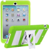 i-Blason ArmorBox Stand Series For Apple iPad Mini 3, iPad Mini, iPad Mini with Retina Display 7.9 Inch 2 Layer Convertible Hybrid Kids Friendly Protection Kick Stand Case (Multi Color) - Green / White