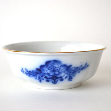 Antique Flow Blue Bowl Berry Dish Cobalt Blue Shabby Cottage Chic