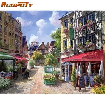 RUOPOTY Frame Picture Store Diy Painting By Numbers Landscape Modern Wall Art Acrylic Canvas Painting For Home Decor 40x50cm Art