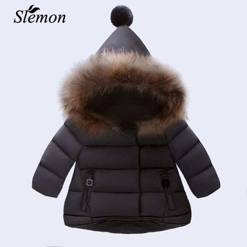 New Arrived Baby Girl Winter Down Coat 2018 Kids Thick Clothing Children Warm Outwear Infant Padded Jacket Beige Red Black Color