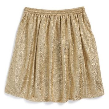 Girl's Ruby & Bloom Metallic Crinkle Skirt