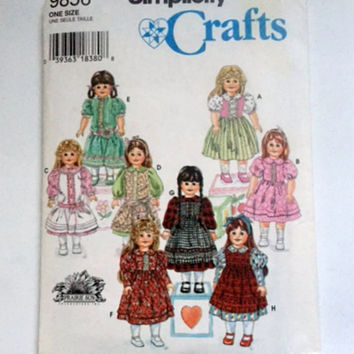 Simplicity 9856 Sewing Pattern Prairie Sun Fits 18 inch Girl Doll Clothes New Uncut Factory Fold Vintage