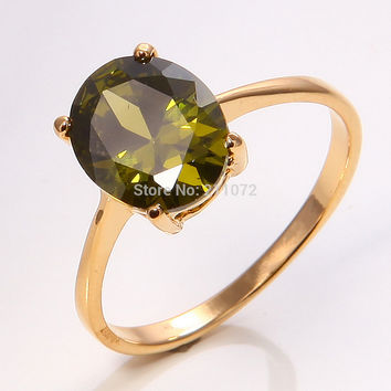 White 7.5 10K Yellow Gold Filled Womens Peridot Jewelry Fashion Ring P291 Size7.5 wedding gold rings for women