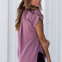 Plum Short Sleeve Button Up Top