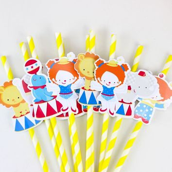 Circus Party Straw | Clown Paper Straws Birthday Party Festive | Circus Party | Clown Party Decor| Boys Birthday Party |Carnival Party