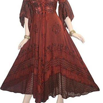 Medieval Gothic Bohemian Embroidered Handkerchief Flare Corset Dress Gown