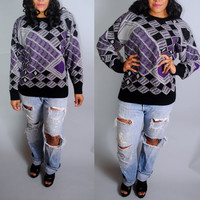 Vintage 1980s 90s Graphic Print purple silver gray geometric long sleeve oversize oversized sweater