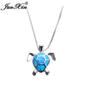 JUNXIN Women Blue Opal Turtles Necklace New Fashion Animal Wedding Jewelry 925 Sterling Silver Filled Necklaces Pendants Gift