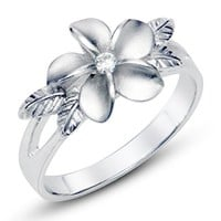 Sz 7 Sterting Silver 925 Plumeria Cubic Zirconia CZ w/ Maile Leaf Hawaiian Flower Band Ring