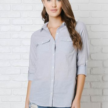 Pinstripe Button-Up Blouse | NRFB