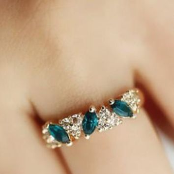 Crystal ring sweet sparkling ring female gold color Green Ring Elegant