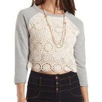 Crochet Trim Sweatshirt by Charlotte Russe - Heather Gray Combo