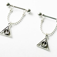 Nipple or cartilage barbell piercings Deathly Hallows Harry Potter inspired 14 gauge stainless steel.......light weight