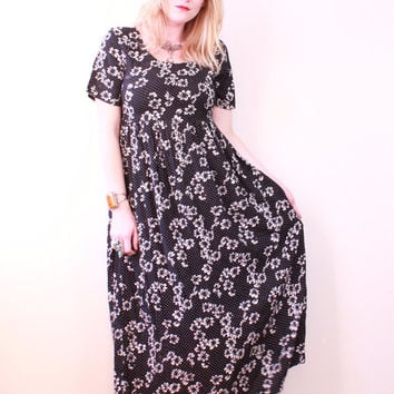 Vintage - 90s - Black & White - Daisy Floral - Polka Dot - Pleated - Baby Doll - Maxi Dress - Romantic - Grunge Revival