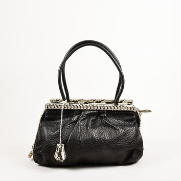 DCCK Christian Louboutin Black Python Trim  Kathena  Bag