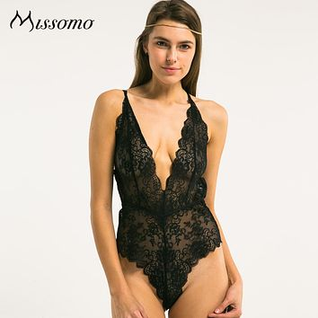 Missomo 2018 New Perspective Exquisite  Women Jacquard Sexy Cross Straps Soft Backless Lace  Bodycon  Deep V Bodysuits