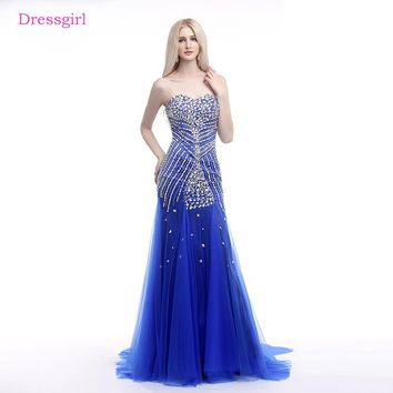 Royal Blue 2018 Prom Dresses Mermaid Sweetheart Tulle Crystals Luxurious Long Elegant Prom Gown Evening Dresses Robe De Soiree