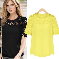 SIMPLE - Chiffon Lace Round Necked Short Sleeve Shirt Blouse a11319
