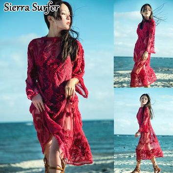 Beach Wear Women's Cover Up Summer Dresses Long Dress Tunic Minute Cuff Hollowed Lace Red Sexy Skirt Solid