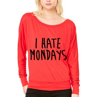 I Hate Mondays WOMEN'S FLOWY LONG SLEEVE OFF SHOULDER TEE