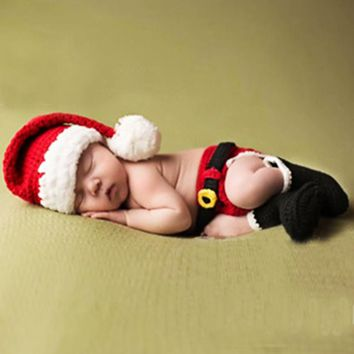 Baby Infant Christmas Costume Crochet Knit Photography Props Sets 0-12 Months Newborn Photo Prop Hat Pants Santa Claus Clothing