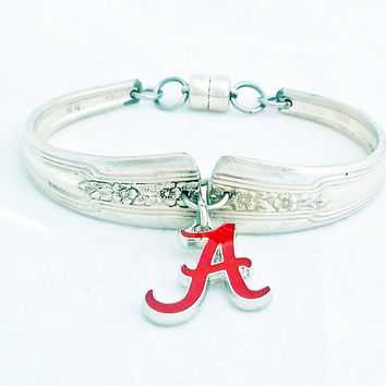 Alabama bracelet, Roll Tide jewelry in upcycled silverware, spoon, Crimson Tide