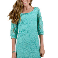 Mint Green Lace Dress with 3/4 sleeves