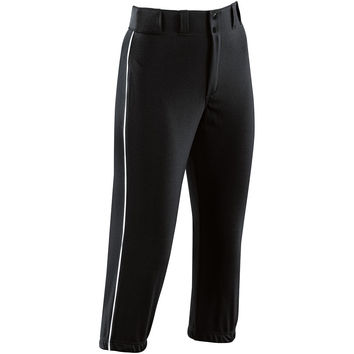 High Five 15103 Girls' Piped ProLow Rise Softball Pant  - Black White