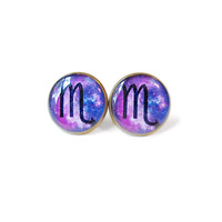 Scorpio Sign Earrings with Galaxy Background - Zodiac Sign Stud Earrings - October and November Birthday Jewelry