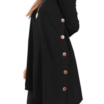 iGENJUN Women's Long Sleeve Scoop Neck Button Side Tunic Dress