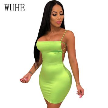 WUHE Summer Backless Hollow Out Sexy Bandage Dress Neon Green Women Sleeveless Mini Slim Bodycon Club Party Pencil Dress Robe