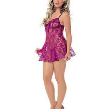 Lace Chemise W-underwire Cups, Adjustable Straps & G-string Grape Sm