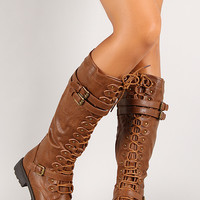 Leatherette Triple Buckle Lace Up Knee High Boot