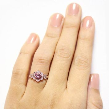 Purple Tourmaline ring  Rose gold Diamond Flower Ring, Vintage Lily Ring, Unique Engagement Ring, Leaf Diamond Ring, Art Deco Ring,