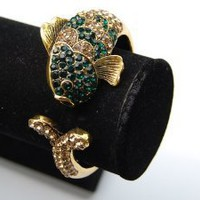 Vintage Gold Tone Emerald Topaz Crystal Rhinestone Koi Fish Cuff Bangle Bracelet: Jewelry: Amazon.com