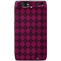 Amzer Luxe Argyle High Gloss TPU Soft Gel Skin Case for Motorola DROID RAZR - Hot Pink - 1 Pack