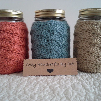 Mason Jar Cozy - Pint Sized Jar Cover - Crochet Soft Acrylic - MADE TO ORDER - Home Office Nursery - Makes a Great Gift - Choose Color