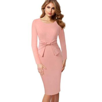 Vintage Solid Color Chic Ruffle Bow dress