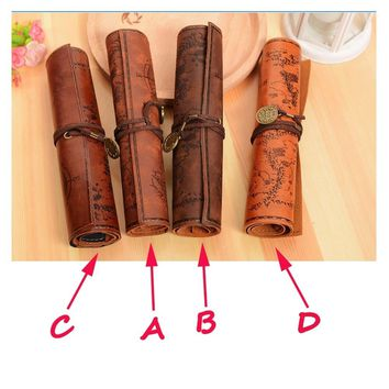Steampunk Luxury Treasure Map Roll Case Bag Purse Pouch Leather  Cosmetic Make Up PU Bag Pen Pencil Case For School