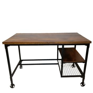Cori Industrial Design Office Computer Desk With Two Side Shelves, Brown And Antique Black By Benzara