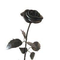 Leather Rose -Black Flower, Long Stem,Gift anniversary,